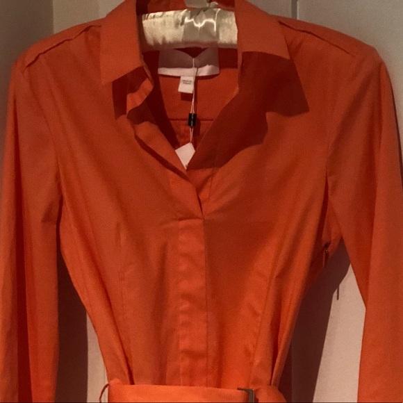 d5fa70d46 Hugo Boss Dresses | Nwt Stretch Cotton Belted Shirtdress | Poshmark